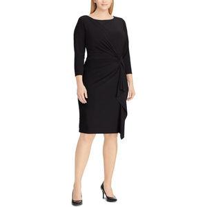 Chaps NWT Plus Size Black Knot-Front Sheath Dress